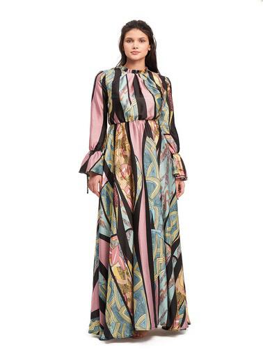 Mizalle Mızalle Yakası Pileli Desenli Maxi Elbise  Renkli